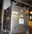 Used- Hoover Liquid Tote Bin, 52.7 cubic feet (395 Gallon), Stainless steel. Rated 9.5 psi. 47