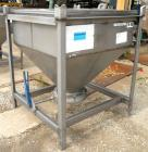 Used- Dry Tote Bin, approximately 14 cubic feet capacity, 304 stainless steel. 36