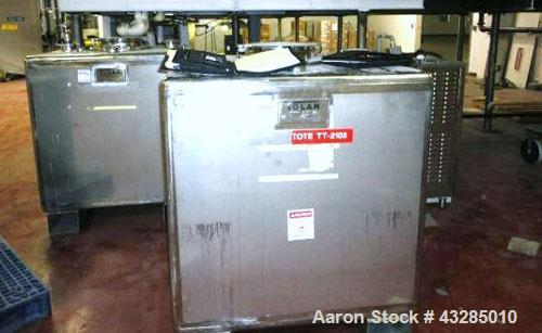 """Used- Tolan Tote Bin, 34.7 Cubic Feet (260 Gallon), Stainless Steel.  40"""" Wide x 40"""" long x 40"""" straight side.  Built 2002."""