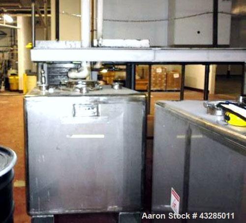 "Used- Tolan Tote Bin, 34.7 Cubic Feet (260 Gallon), Stainless Steel.  40"" Wide x 40"" long x 40"" straight side. Built 2002."