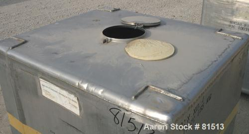 """USED: Tolan Machinery solids only tote bin, 55 cubic feet (418 gallon) total capacity. 304 stainless steel. 42"""" x 48"""" x 48"""" ..."""