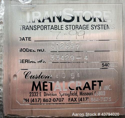 Used- Stainless Steel Custom Metalcraft TransStore Transportable Powder Tote, Model 512705