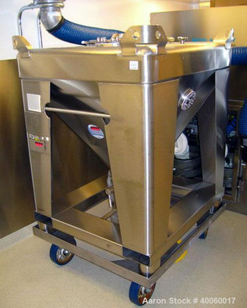 "Used- Tote Systems 23 Cubic Foot Tote Bin, 316 Stainless Steel. 42"" x 48"" x 7"" straight side, 30"" cone bottom, (1) 22"", (2) ..."
