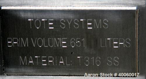 """Used- Tote Systems 23 Cubic Foot Tote Bin, 316 Stainless Steel. 42"""" x 48"""" x 7"""" straight side, 30"""" cone bottom, (1) 22"""", (2) ..."""