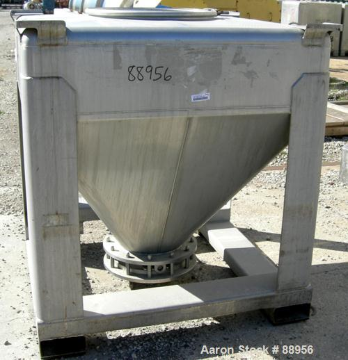 """Used- Tote Systems tote bin, 35 cubic feet, 304 stainless steel. 48"""" wide x 48"""" long x 12"""" straight side x 36"""" coned bottom...."""