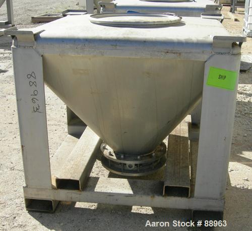 """Used- Tote Systems Tote Bin, 23 Cubic Feet, 304 Stainless Steel. 48"""" wide x 48"""" long x 3"""" straight side x 36"""" coned bottom. ..."""