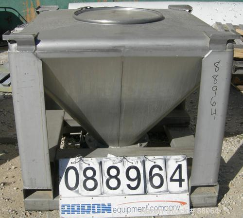 """USED: Tote Systems tote bin, 23 cubic feet, 304 stainless steel. 48"""" wide x 48"""" long x 3"""" straight side x 36"""" coned bottom. ..."""