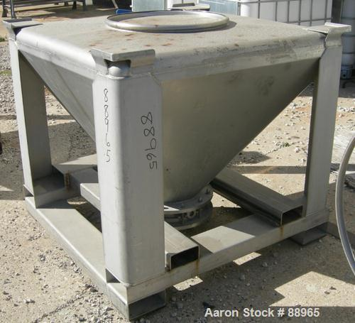 "USED: Tote Systems tote bin, 23 cubic feet, 304 stainless steel. 48"" wide x 48"" long x 3"" straight side x 36"" coned bottom. ..."