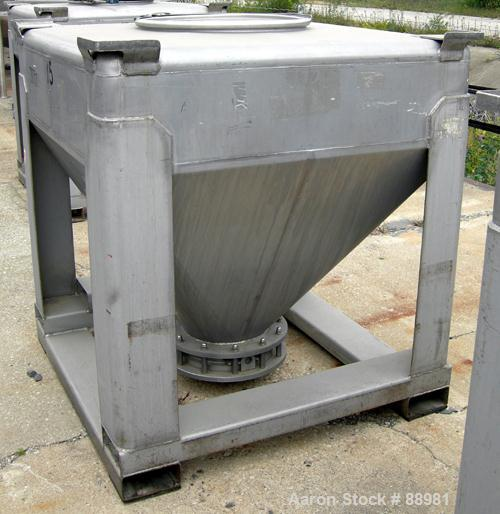 "Used- Tote Systems Tote Bin, 35 Cubic Feet, 304 Stainless Steel. 48"" wide x 48"" long x 12"" straight side x 36"" coned bottom...."