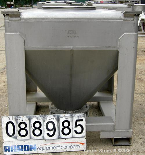 "USED: Tote Systems tote bin, 35 cubic feet, 304 stainless steel. 48"" wide x 48"" long x 12"" straight side x 36"" coned bottom...."