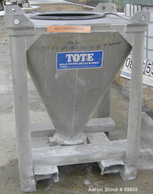 """USED: Tote Systems powder tote bin, approximate 10 cubic feet, aluminum. 36"""" wide x 36"""" long x 2"""" straight side x 39"""" coned ..."""