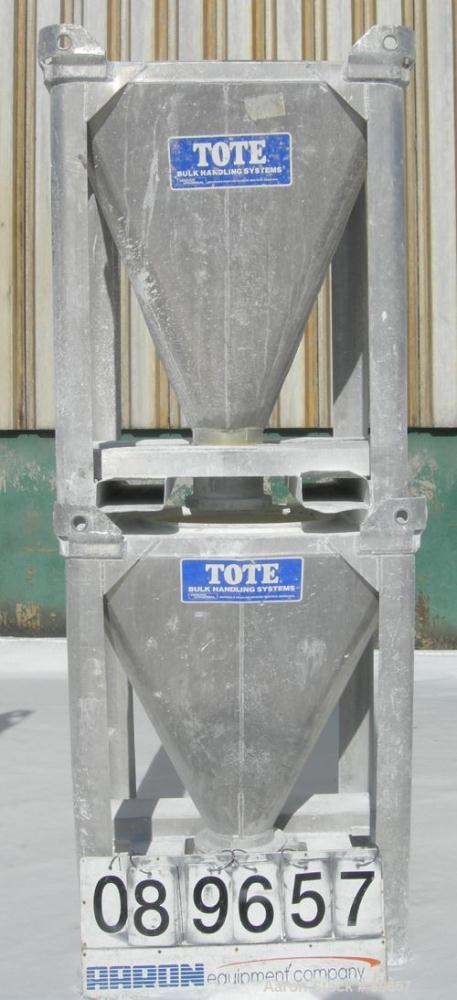 """Used- Tote Systems Powder Tote Bin, Approximate 10 Cubic Feet, Aluminum. 36"""" wide x 36"""" long x 2"""" straight side x 39"""" coned ..."""