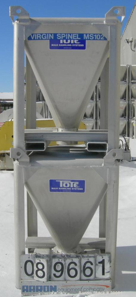 "USED: Tote Systems powder tote bin, approximate 10 cubic feet, aluminum. 36"" wide x 36"" long x 2"" straight side x 39"" coned ..."