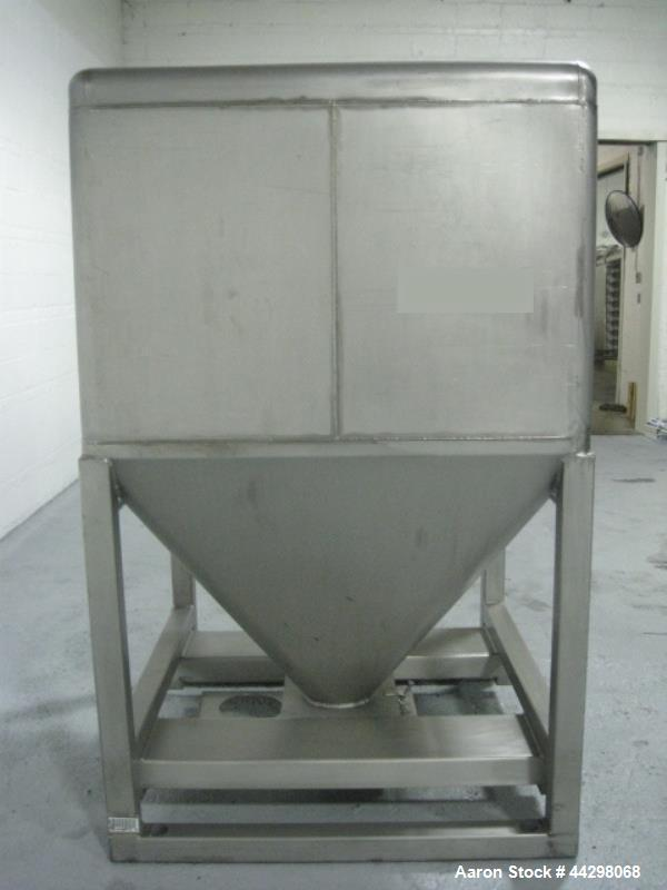 """Used- Transtore Tote Bin, 60 cubic feet, stainless steel construction, approximately 48"""" x 48"""" x 36"""" straight side x 36"""" con..."""