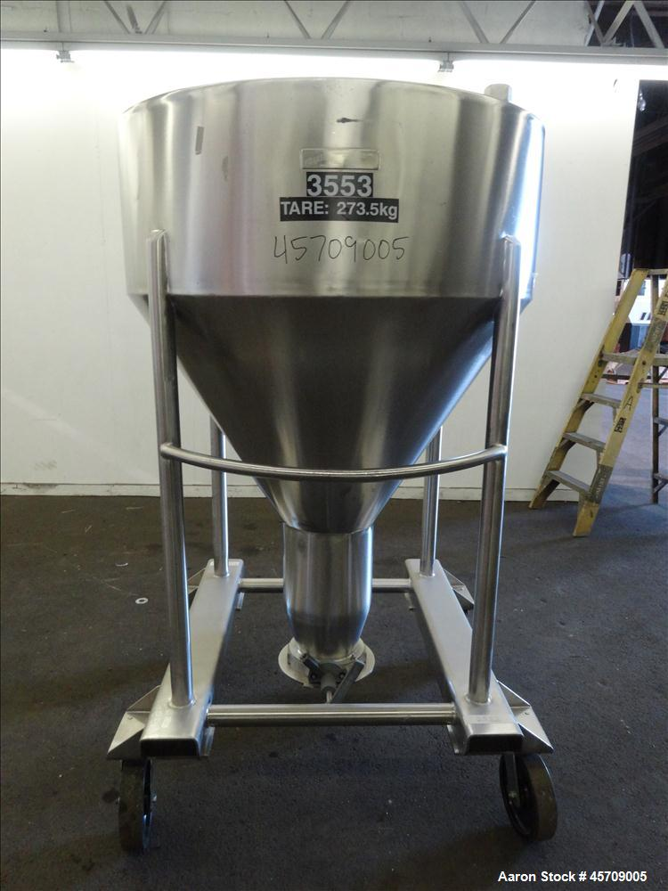 """Used- United Utensils Powder Tote Bin, Approximate 20 Cubic Feet, 304 Stainless Steel. Approximately 48"""" diameter x 17"""" stra..."""