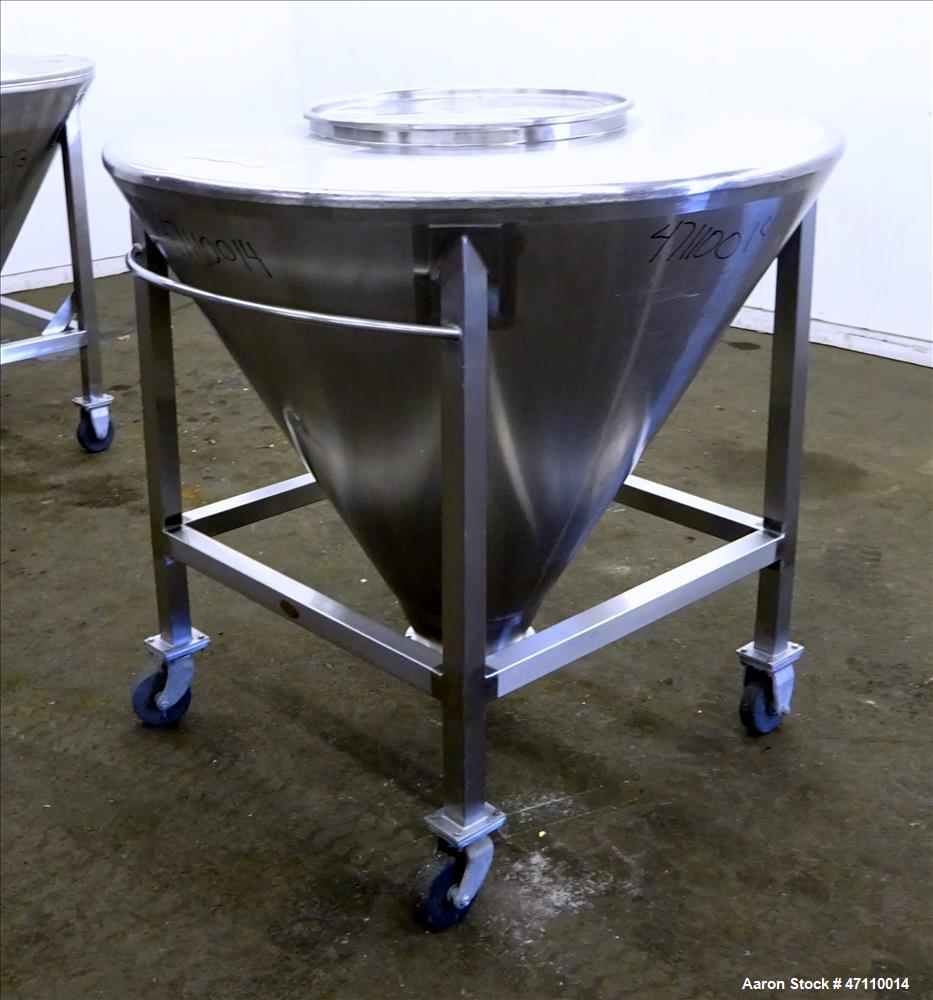 """Used- United Utensils Hopper Tote, Approximate 17 Cubic Feet, 304 Stainless Steel. Approximate 52"""" diameter x 45"""" deep coned..."""