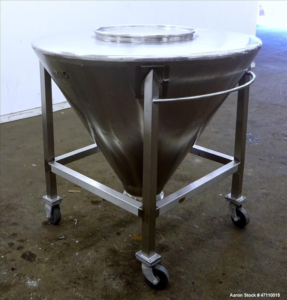 "Used- United Utensils Hopper Tote, Approximate 17 Cubic Feet, 304 Stainless Steel. Approximate 52"" diameter x 45"" deep coned..."