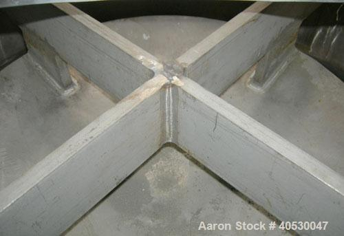 """Used- Vibra Screw bin activator, 304 stainless steel. 48"""" diameter x coned bottom. (2) 6"""" diameter bottom outlets. Driven by..."""