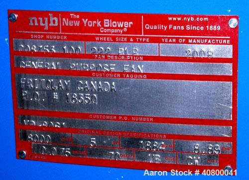 "Used-Unused- New York BlowerGeneralPurposeFan,Size222PLR, carbon steel. Approx8,000 cfm at5"" S.P. at 1884 rpm.24 1/2..."