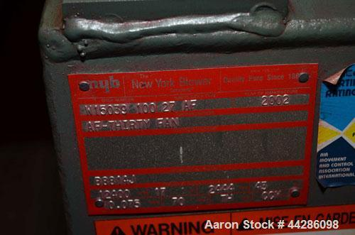 Used- New York Blower Model AF30. 60hp, 12400 CFM. 17 SP, 2,444 RPM, 43 BHP, .075 DENS, 70 Degrees F, TH Disc