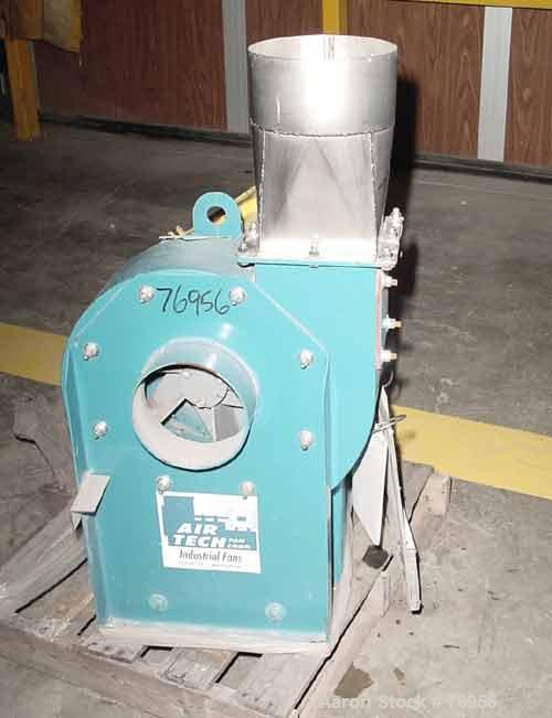 "USED:Air Tech fan, carbon steel, model 122IRO15CW8609. 7"" diameterinlet, 5-1/2"" x 6-1/2"" outlet. Approx 1400 cfm at 6"" stati..."