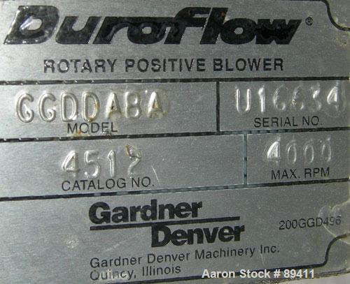 "USED: Gardner Denver Duroflow rotary positive displacement blower,model 4512, horizontl. 6"" diameter NPT inlet/outlet. Appro..."