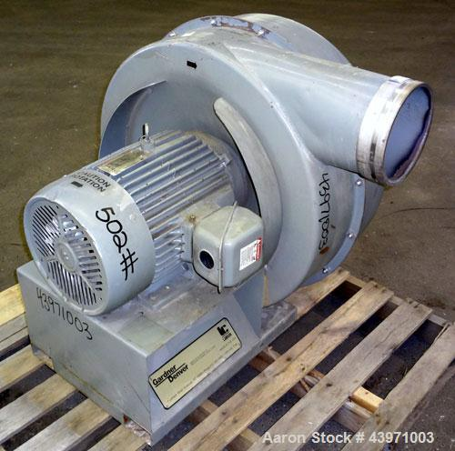 "Used-Gardner Denver Lamson Blower, Carbon Steel. Driven by 20 hp, 3/60/230/460 volt, 3510 rpm motor.  8"" Diameter inlet/outl..."