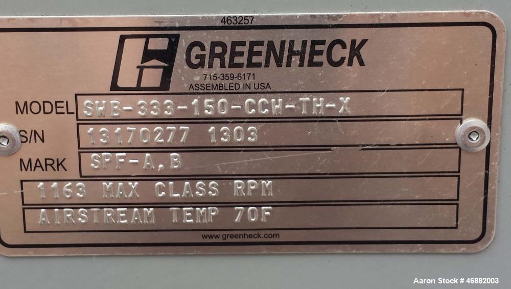 Unused- Greenheck Centrifugal Fan, Model SWB-333-150-CCW-TH-X. 15 hp motor, belt driven fan, backward-inclined centrifugal w...