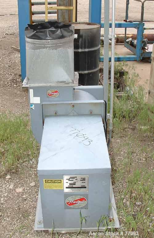 """Used- Hartzell centrifugal fan, model 03P-12-BCJ3, carbon steel. 12"""" diameter inlet, 13"""" x 9"""" outlet, rated at 1200 cfm at 2..."""