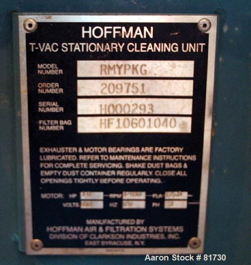 "USED: Hoffman self-contained industrial vacuum cleaning system, model TV101S1. (1) T Series exhauster, model TV101S1. 4"" dia..."