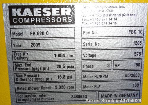 Used- Kaeser Omega Plus Rotary Blower, Model FB 620C. Rated 1846 scfm. Approximate 150hp, 575 volt motor. Serial# 1208, buil...