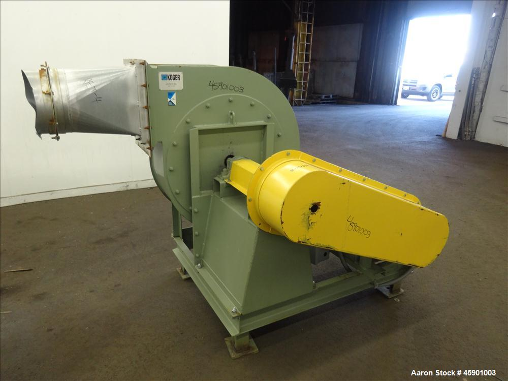 """Used- Koger Clockwise Top Horizontal Blower, Model CCW TOP H, Carbon Steel. 26"""" Diameter fan driven by a 25 hp, 3/60/208-230..."""
