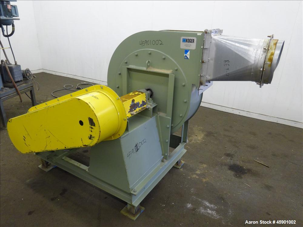 "Used- Koger Clockwise Top Horizontal Blower, Model CW TOP H, Carbon Steel. 26"" Diameter fan driven by a 25 hp, 3/60/208-230/..."