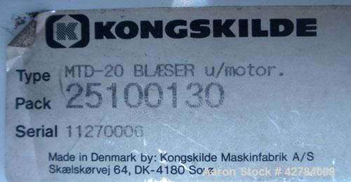 Used- Kongsklide Centrifugal Blower, Model MTD-20, Carbon Steel. Rated approximately 1500 cfm at 4'' WG. Approximate 10'' di...
