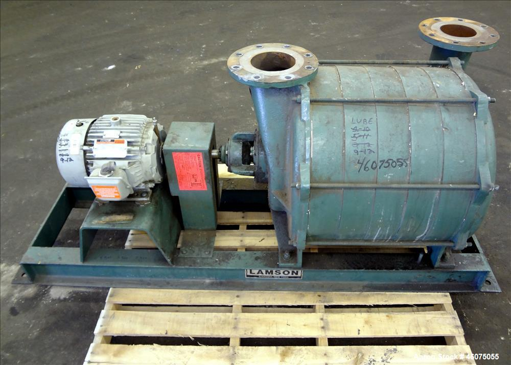 Used- Lamson Multistage Centrifugal Blower, Model 406-0-6-AD, Carbon Steel. Approximately 210 cfm. Driven by a 5hp, 3/60/230...
