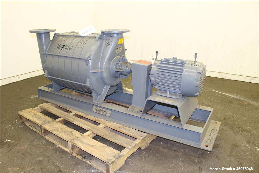 Used- Gardner Denver Lamson Multistage Centrifugal Blower, Model 407-0-7-AD, Carbon Steel. Approximately 210 cfm. Driven by ...