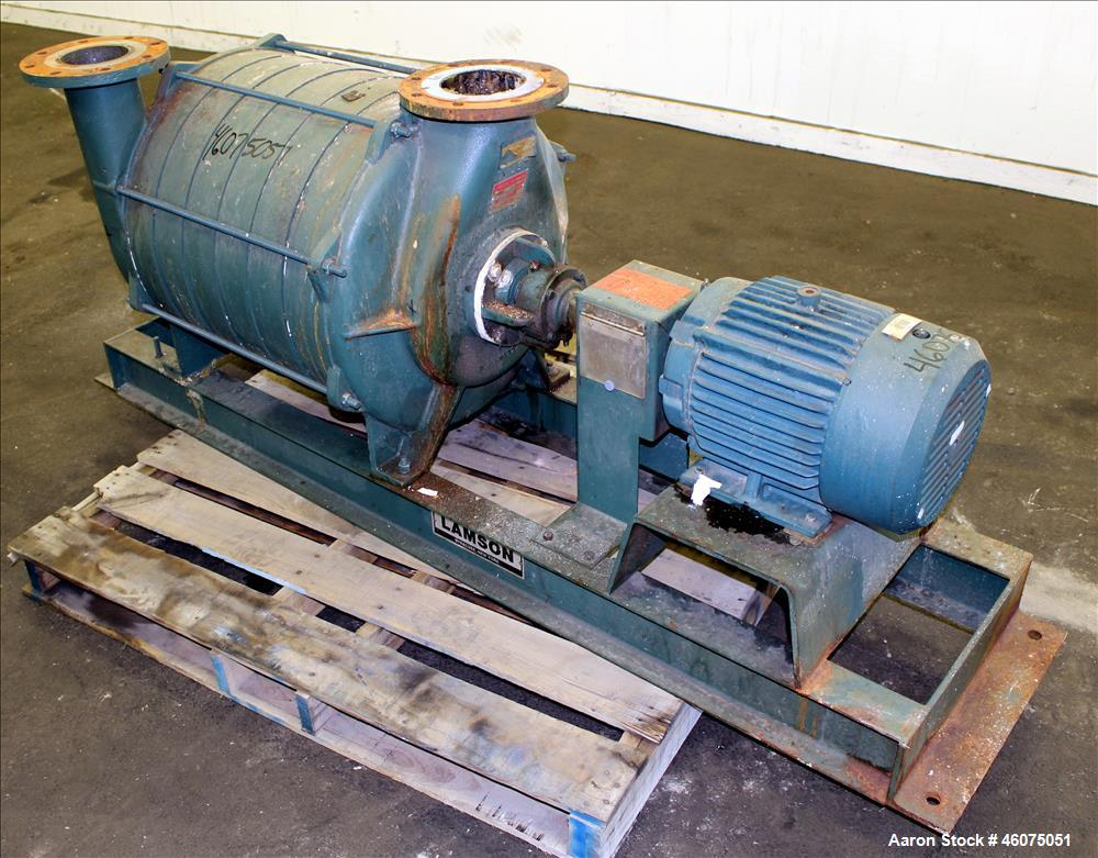 """Used- Lamson Multistage Centrifugal Blower, Model 407-0-7-AD, Carbon Steel. Approximately 210 cfm. 5"""" Inlet, 4-1/2"""" Outlet. ..."""