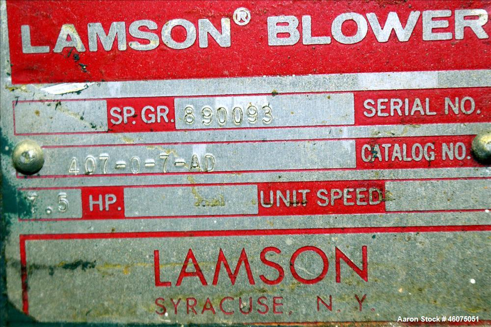 "Used- Lamson Multistage Centrifugal Blower, Model 407-0-7-AD, Carbon Steel. Approximately 210 cfm. 5"" Inlet, 4-1/2"" Outlet. ..."