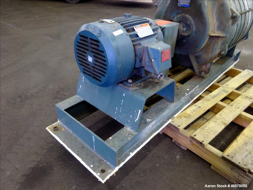 Used- Lamson Multistage Centrifugal Blower, Model 407-0-7-AD, Carbon Steel. Approximately 210 cfm. Driven by a 7.5hp, 3/60/2...