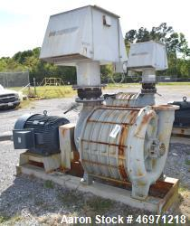 Used- Lamson Blower, Catalog# 866-0-0-0-0-0-6-AD, Carbon Steel. Driven by a 150hp, 3/60/460 volt, 3570 rpm motor. Mounted on...