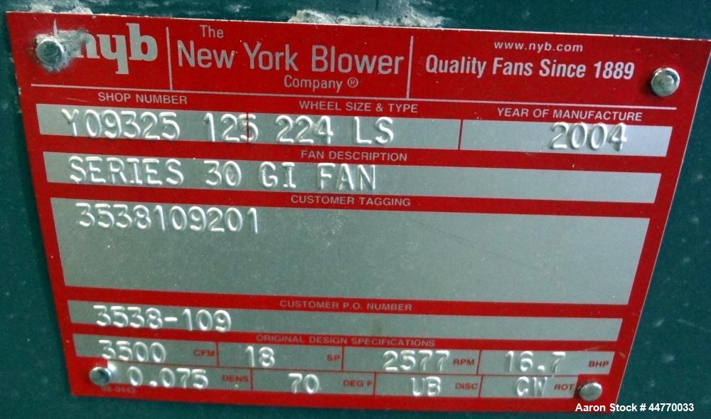 """Used- New York Blower Series 30 GI Fan, Size 224 LS, Carbon Steel.  Approximately 3500 cfm at 18"""" S.P. at 2577 rpm. Approxim..."""