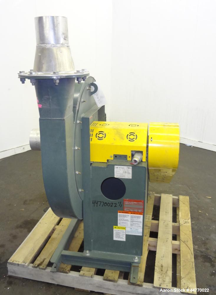 "Used- New York Blower Pressure Blower, Type 2408, Carbon Steel.  Approximately 900 cfm at 16.6"" S.P. at 2071 rpm. Approximat..."