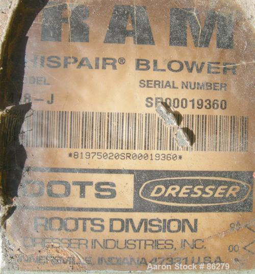 """USED: Roots Ram Whispair rotary positive gas blower, model 418J. Approximate capacity 675 cfm at 16.5 bhp at 4 psi. 8"""" inlet..."""