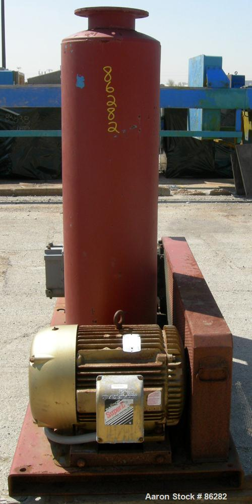 """USED: Roots Ram Whispair rotary positive gas blower, model 418J. Approx capacity 675 cfm at 16.5 bhp at 4 psi. 8"""" inlet, 6"""" ..."""