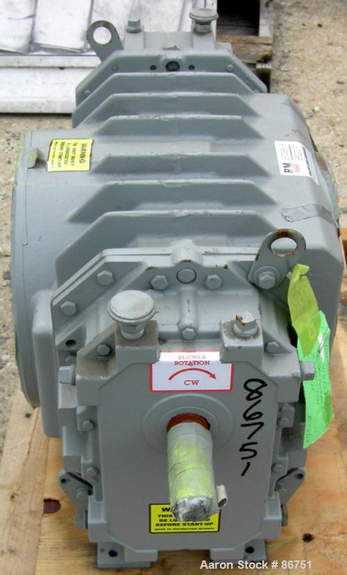 "USED: Roots Ram Whispair rotary positive gas blower, model 418J.Approximate capacity 675 cfm at 16.5 bhp at 4 psi. 8"" inlet,..."