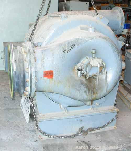 """Used- Roots High Pressure Blower, Model MVI-14, Carbon Steel. 33"""" Diameter impeller, 18"""" inlet, 14"""" outlet. Rated approximat..."""