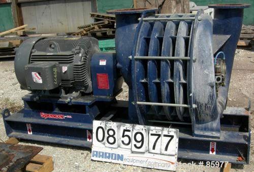 USED: Spencer Power Mizer high efficiency multi-stage centrifugal blower, model C43R26T11A1, carbon steel. Approx 2,500 cfm ...