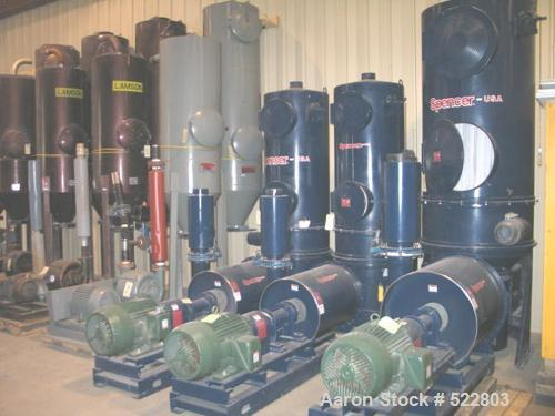 "USED: 40 hp Spencer central vacuum system consisting of: Spencervacuum producer (blower) rated 604 cfm (400 scfm) at 10.0"" h..."