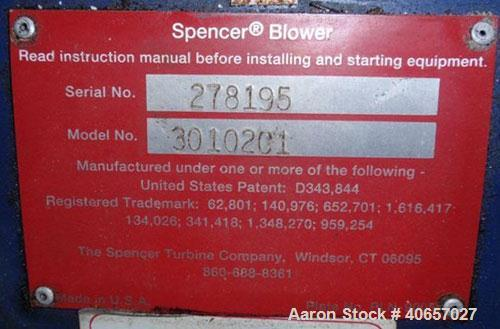 Used- Spencer Blower, Model 30102C1, Carbon Steel. Rated up to 600 cfm. Driven by a 15 hp, 3/60/230/460 volt, 3480 rpm motor.