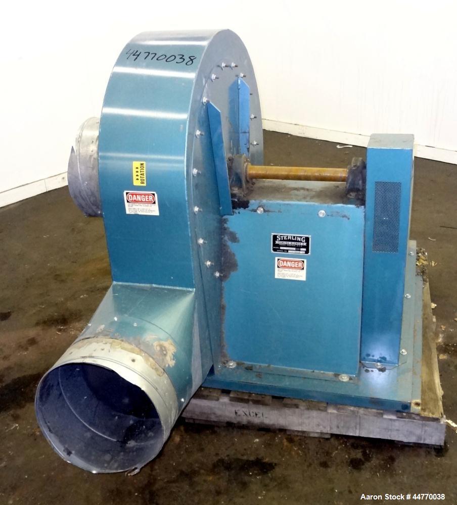 "Used- Sterling Blower, Model 13 MS, Arrangement 1A, Carbon Steel. Approximate 5000-5800 cfm. Approximate 14"" diameter side i..."